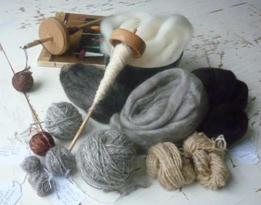 Handspun yarn and handwound balls