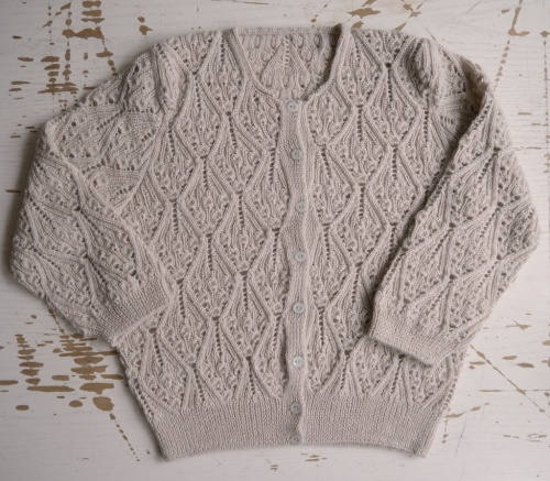 Kasha Cardigan with modified sleeves and collar
