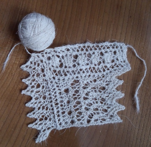 Lace sample in handspun Rough Fell 2ply yarn