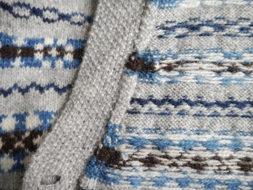 Knitting & Crochet Guild Fair Isle Cardigan buttonband detail