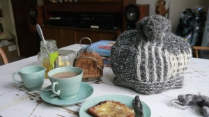 Tea Hat with toast, marmalade and Wood's Ware in Beryl