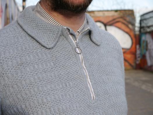 brioche sweater collar with zip
