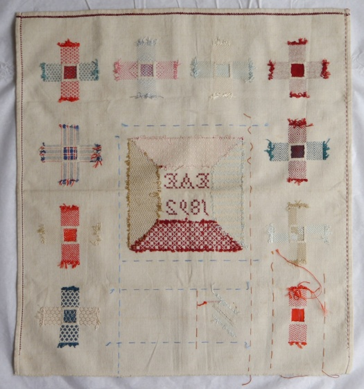 Darning sampler 1892 back
