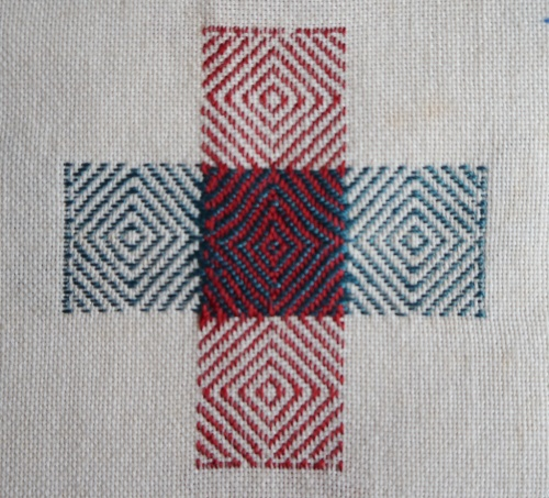 Darning sampler 1892 bird's eye darn front