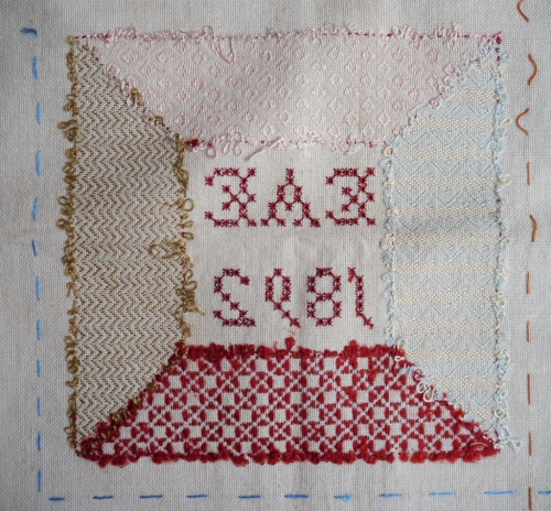 Darning sampler 1892 centre square back