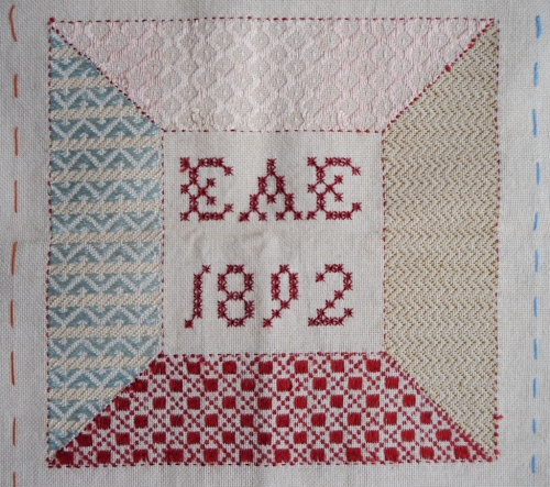 Darning sampler 1892 centre square front