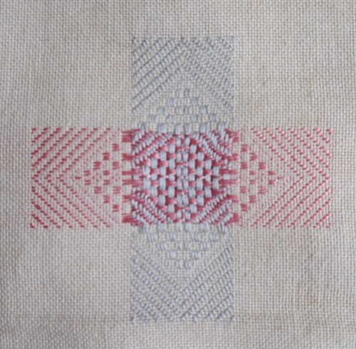 Darning sampler 1892 fancy darn front