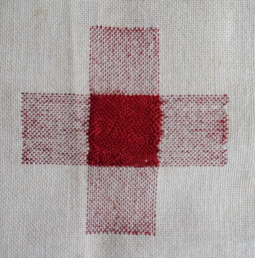 Darning sampler 1892 even weave darn front