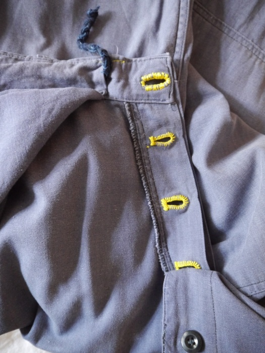 Wolf and Gypsy Visible Mending Programme Trousers After Buttonhole Detail