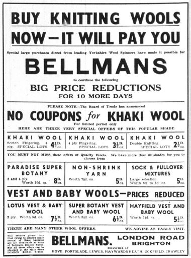 Yarn Advert Bellmans WW2