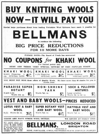 Yarn Advert Bellmans WW2