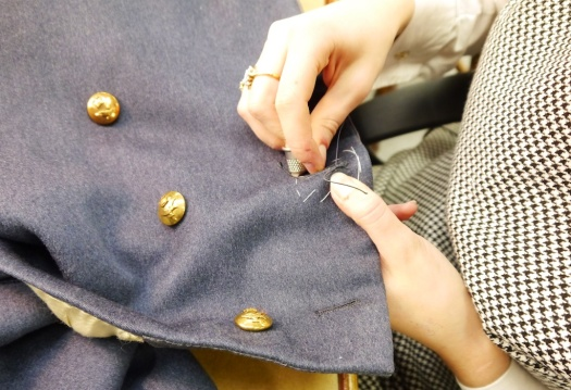 Buttonhole stitching by Military finisher for Gieves and Hawkes Ms Jules Walker