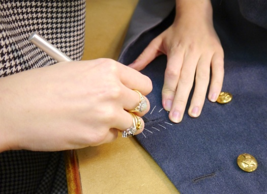 Re-cutting a buttonhole, Military finisher for Gieves and Hawkes Ms Jules Walker