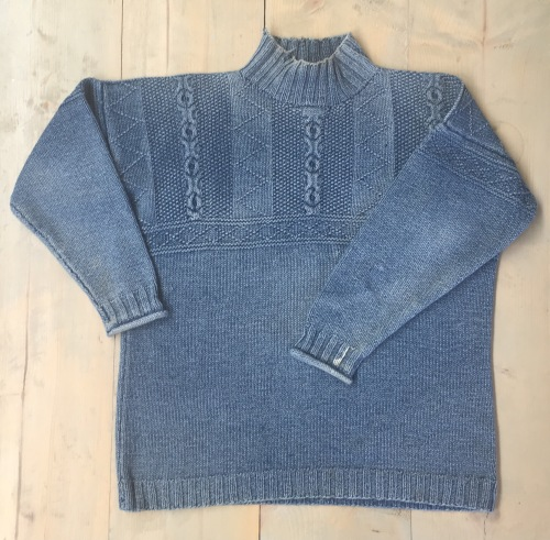Old Denim Yarn Sweater with fading