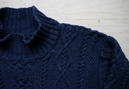 Whitby Sweater in Rowan Original Denim, crochet chain collar transition