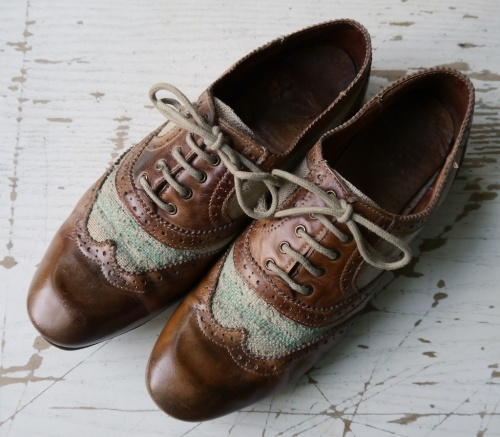 Canvas leather brogues repaired topview