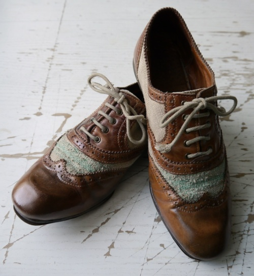 Canvas leather brogues repaired