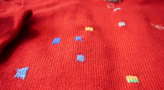 Red Cardigan VMP09 Detail of Back