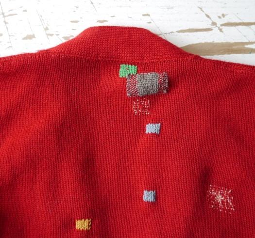 Red Cardigan VMP09 Detail of Back of Neck Line