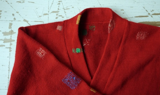Red Cardigan VMP09 Detail of Neck Line