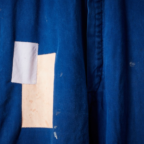 Tom of Holland boilersuit for The New Craftsmen, with oversewn patches, detail