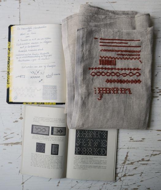 vrouwelijke handwerken sampler, notebook