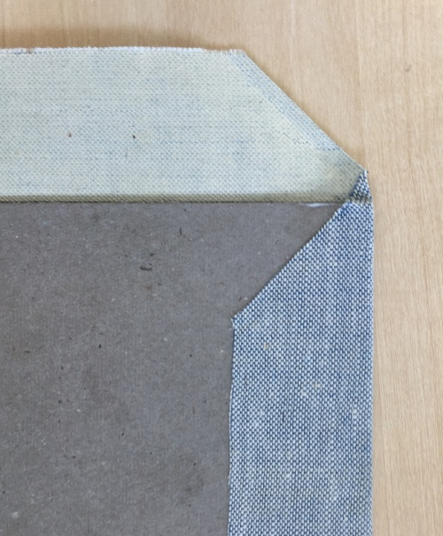 bookbinding workshop - making corners when covering the board