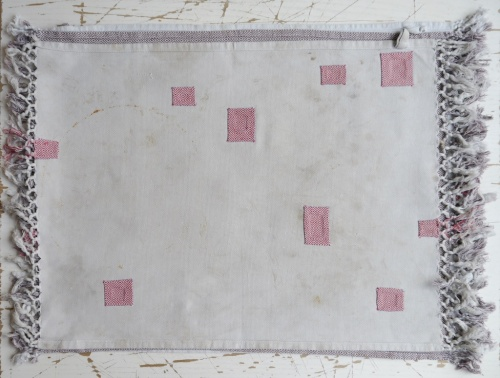 old tea towels with hemmed patches