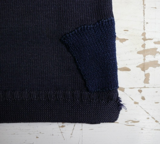 Visible mending gansey - patch detail
