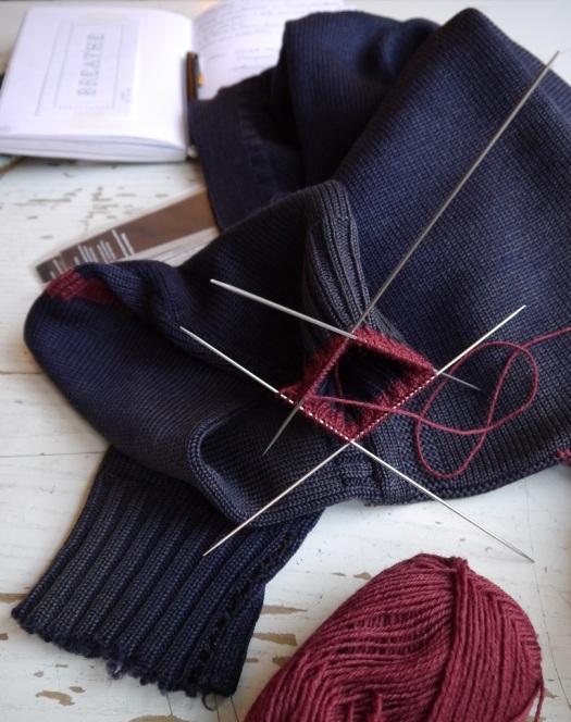 visible mending gansey - preparing the cuff