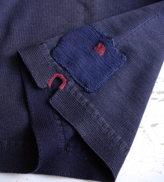 visible mending gansey - patch patched