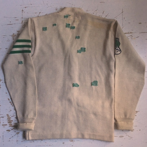 varsity cardigan with repaired patches