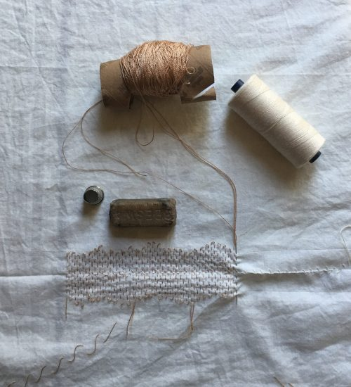 needlework tools and materials for making textile wall-hanging